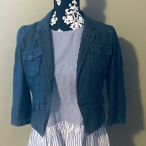 Denim blazer from Nordstrom and stripped tunic.